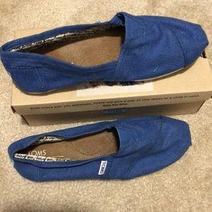 TOMS Blue Linen Slip On Shoes